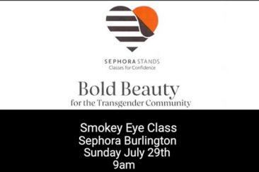 Transgender makeup class on smokey eyes at Sephora Burlington MA July 29, 2018
